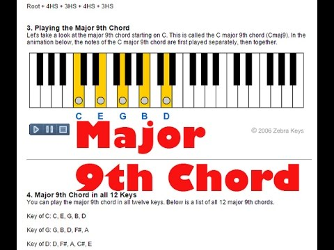 Piano ninth chords piano : Learn Piano - How to Play Major 9th Chords on Piano - YouTube