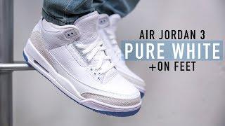 newest c2e68 7cb79 FIRST LOOK  Air Jordan 3  Pure White  + On feet   SHIEKH