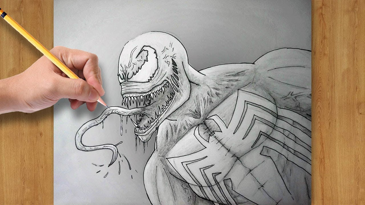 How To Draw Venom From Spiderman Easy Drawing For Beginners Youtube