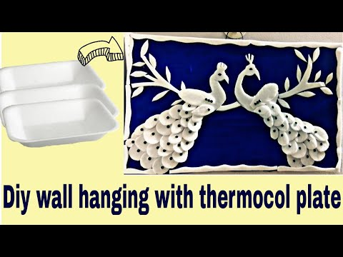 Diy / Waste thermocol plate craft / Diy wall decor with waste / Peacock craft