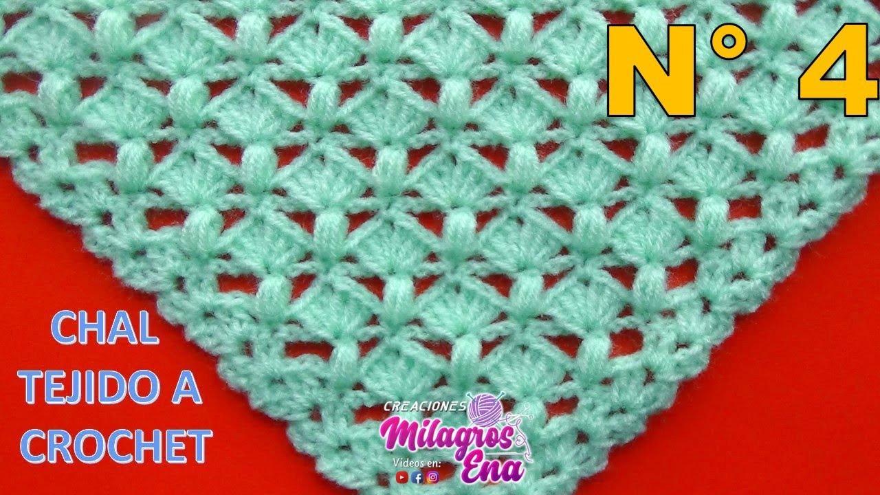 Chal triangular a crochet en punto garbanzos y abanicos paso a paso ...