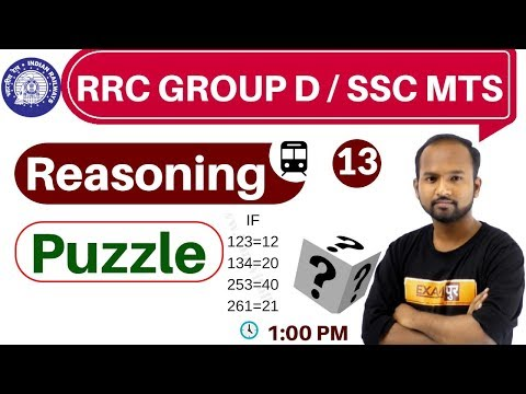 Class- 13 ||#RRC GROUP D / SSC MTS  || Reasoning || By Pulkit Sir || Puzzle
