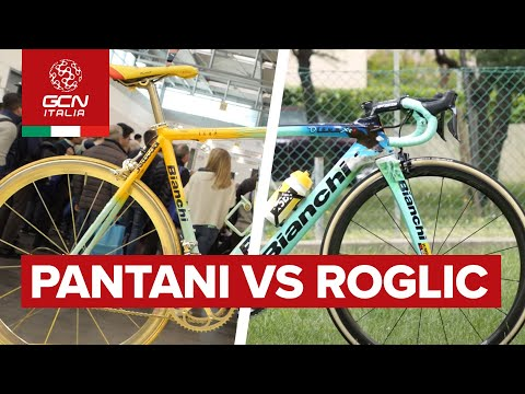 Il confronto tra la Bianchi 1998 di Pantani e quella del 2019 di Roglic