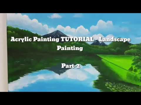ACRYLIC PAINTING TUTORIAL -Step By Step –  Landscape for Beginners- PART 2