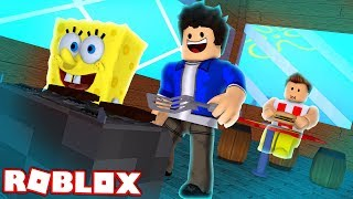 MAKING CRAB BURGER WITH SPONGE BOB IN ROBLOX!!!