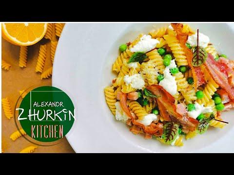 Простой рецепт вкусной пасты/Паста в сливочном соусе с моцареллой и беконом/Домашний рецепт