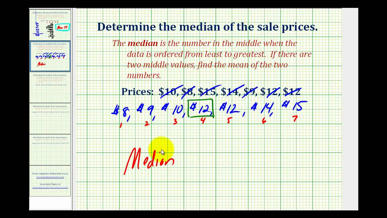 Ex: Find The Median Of A Data Set
