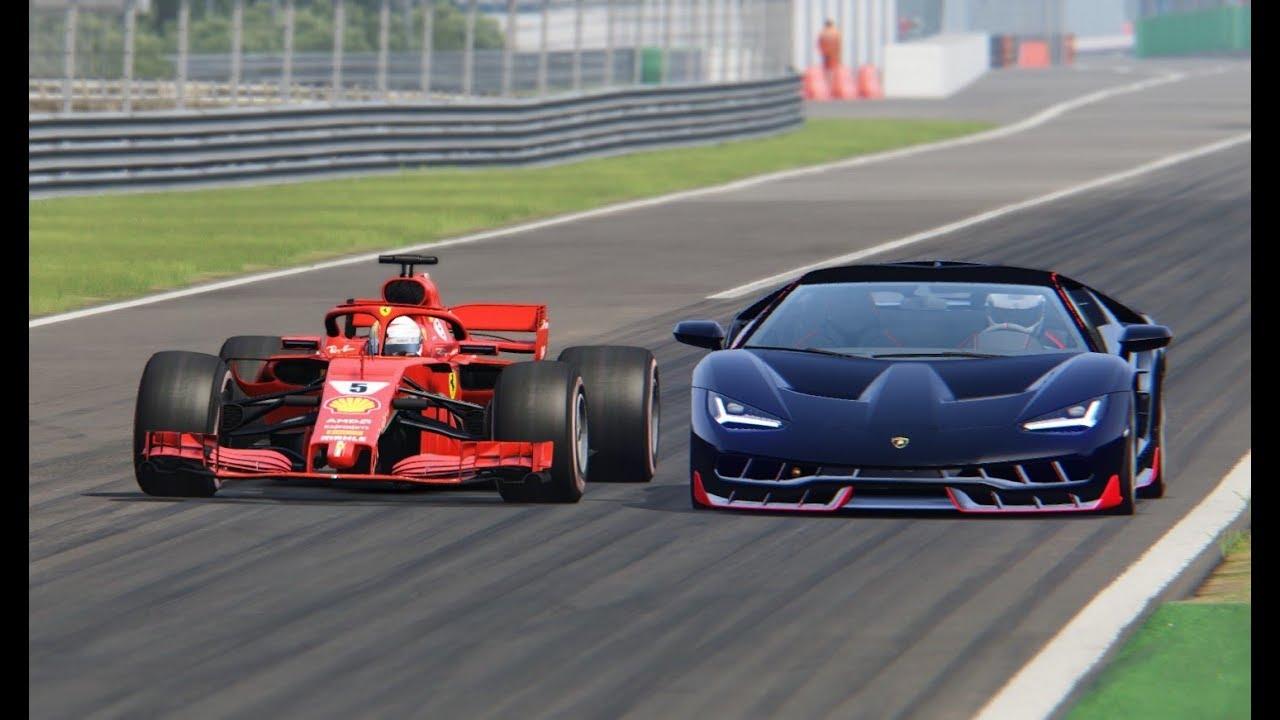Ferrari F1 2018 Vs Lamborghini Centenario Monza Youtube