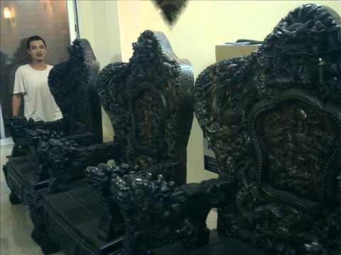 Bộ bàn ghế Cửu Long ,Bát Mã,10 món bằng gỗ Mun Hoa giá 1,7 tỉ