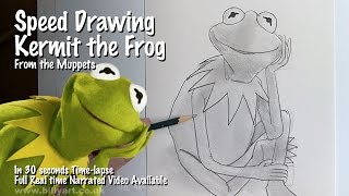 Speed Drawing Kermit the Frog from the Muppets 30 Second Timelapse