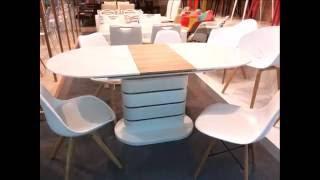 Овальные глянцевые столы.  Стол обеденный раскладной AT59