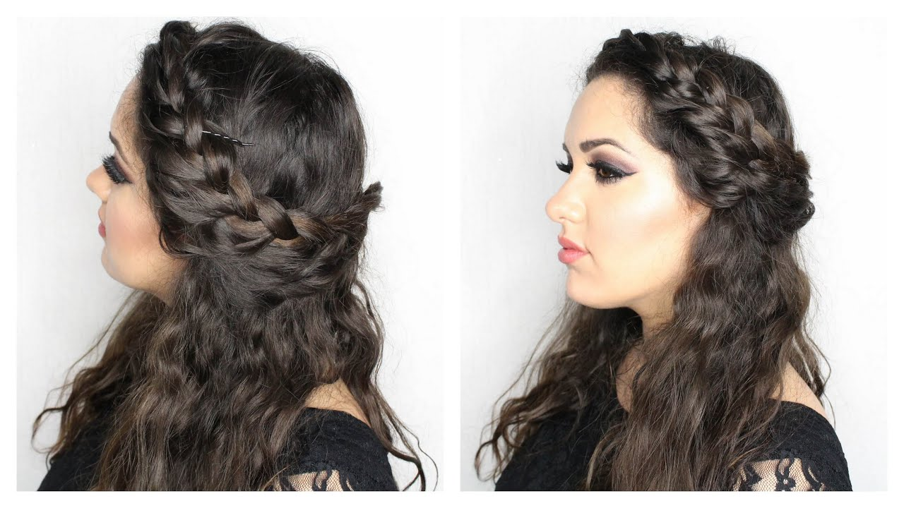 front braid with curly hair | gkhairmakeup - youtube