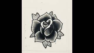 How to draw a traditional rose tattoo