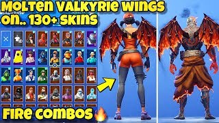 "NEW ""MOLTEN VALKYRIE WINGS"" BACK BLING Showcased With 130+ SKINS! Fortnite Battle Royale (NEW WINGS)"