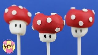 SUPER MARIO BROTHERS SHROOM MARSHMALLOW POPS - kid baking - fairy cake mushrooms