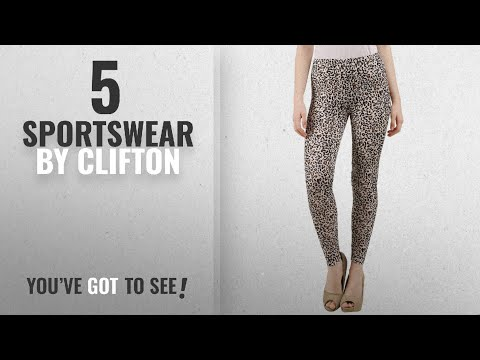 Top 10 Clifton Sportswear [2018]: Clifton Womens Leopard Printed Ankle Length Leggings-Beige-Black