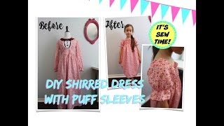 CONVERT A THRIFT FIND DRESS INTO A SHIRRED DRESS WITH PUFF SLEEVES FOR KIDS!