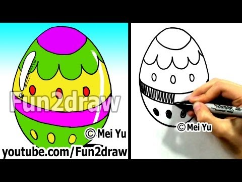 How To Draw A Cartoon Easter Egg How To Draw Easy Cartoons Fun2draw Online Art Lessons Youtube