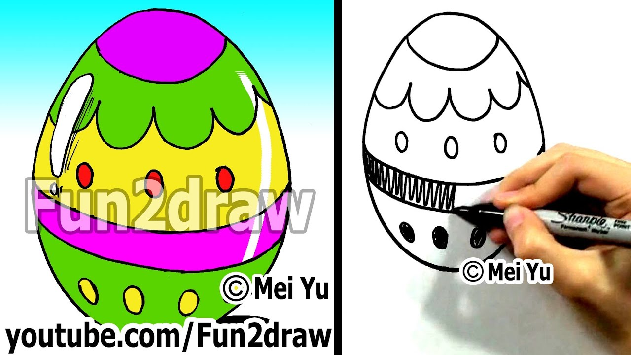 How To Draw A Cartoon Easter Egg  How To Draw Easy Cartoons  Fun2draw Art  Lessons For Kids  Youtube