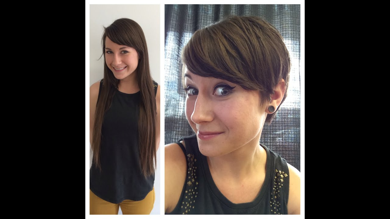 Haircut On Long Hair Brunette To A Pixie Hair Cut Anne