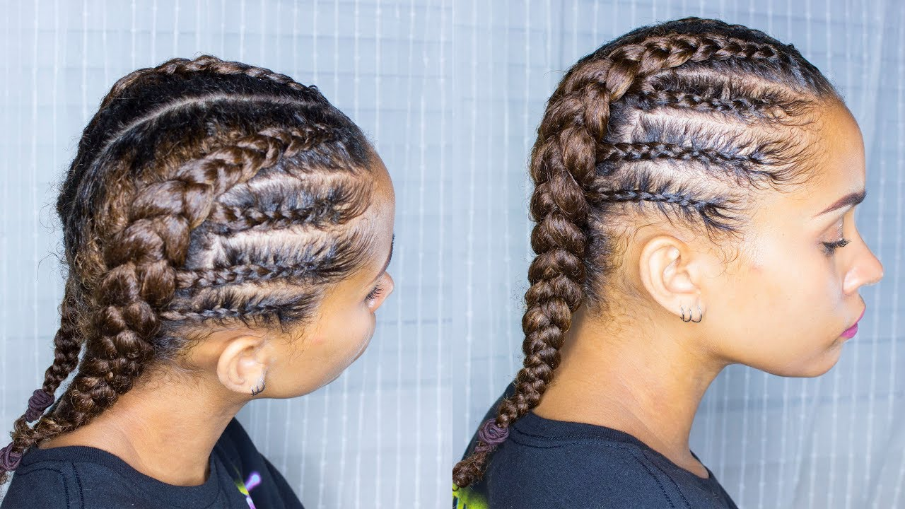 Braided Protective Style Perfect For Back To School Natural Hair Youtube