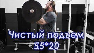 Строгий подъем на бицепс 55 кг*20