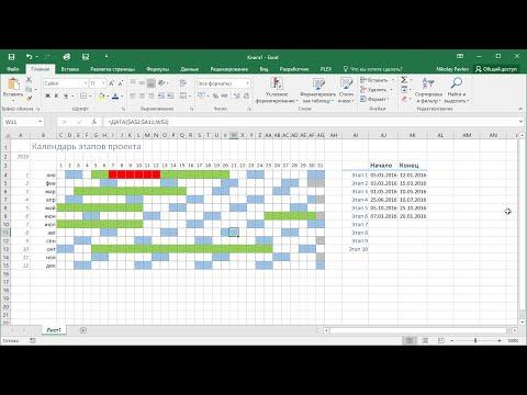 Календарь этапов проекта в Excel