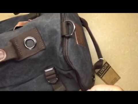 ca034e8692 LUXUR Retro Duffel Cylinder Bag Canvas Travel Backpack Hiking Shoulder  Handbag