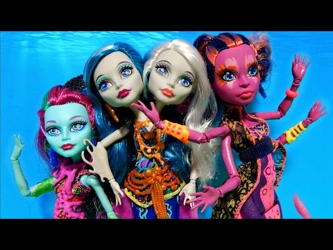 Monster High Great Scarrier Reef Dolls Peri & Pearl Posea Reef Kala Mer'ri Unboxing Toy Review