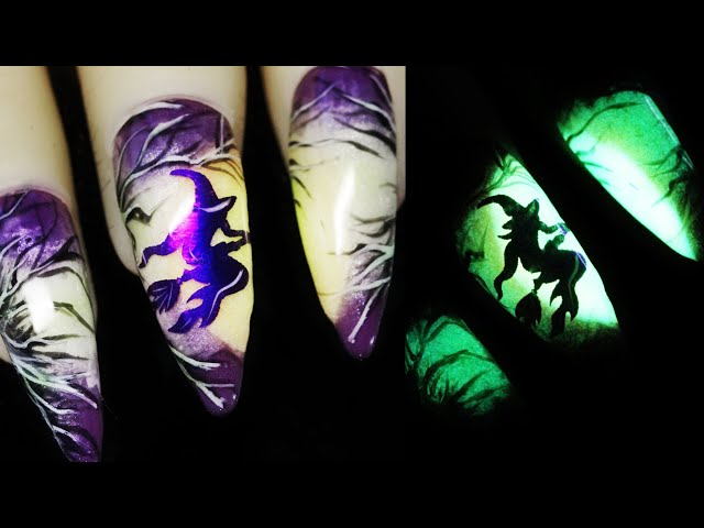 How To Create Witch Foil Water Decal Glow In The Dark Moon Halloween Nail Art Design 2020