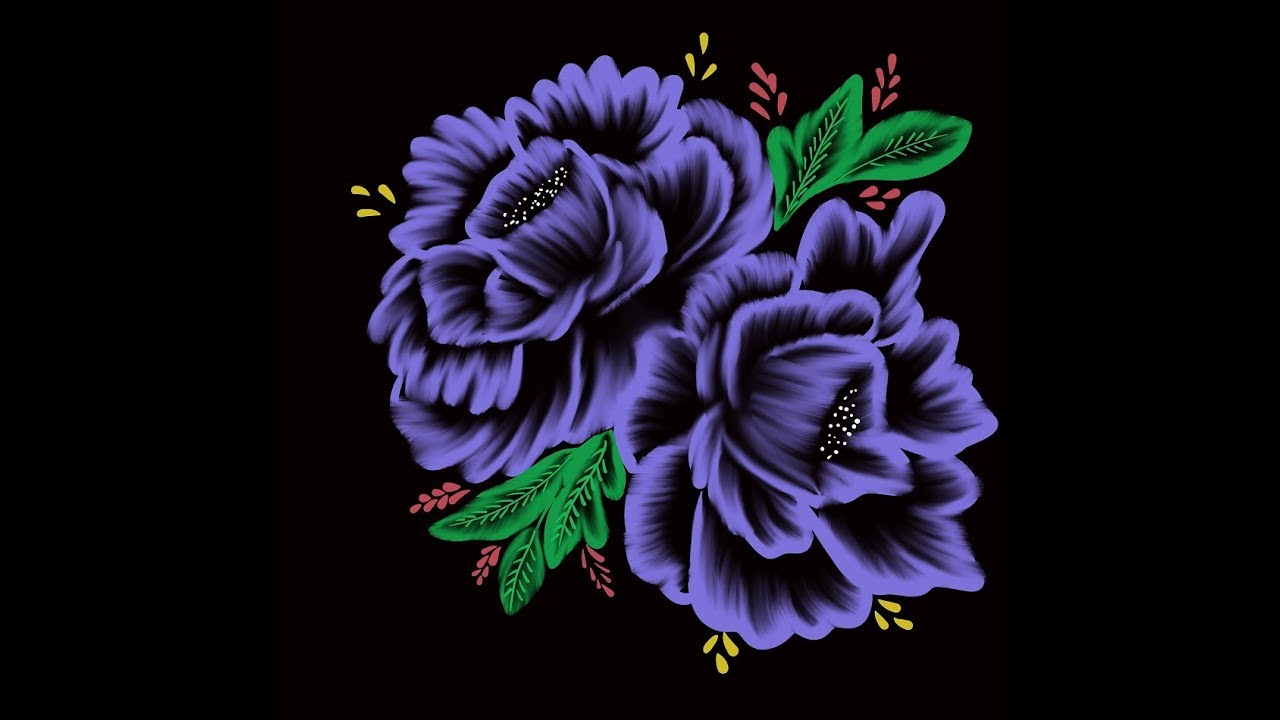 Decorative Digital Painting 54 3d Purple Flowers On Black Background Youtube