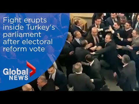 Fight erupts in Turkish parliament after controversial electoral reforms passed