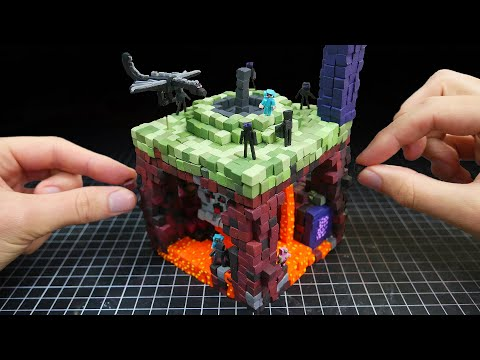 Making NETHER & END Minecraft Miniature In Polymer Clay