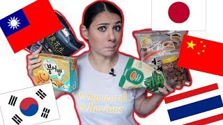 TRYING WEIRD ASIAN SNACKS | KOREA | TAIWAN | JAPAN | THAILAND | CHINA | TRAVEL VLOG IV
