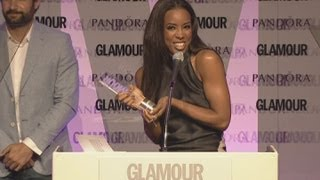 Kelly Rowland baffled by Facejacker's humour at the Glamour Awards