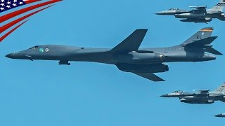 u s b 1b bombers flyover in korea response to provocative action by north korea 韓国上空をb 1爆撃機が示威飛行