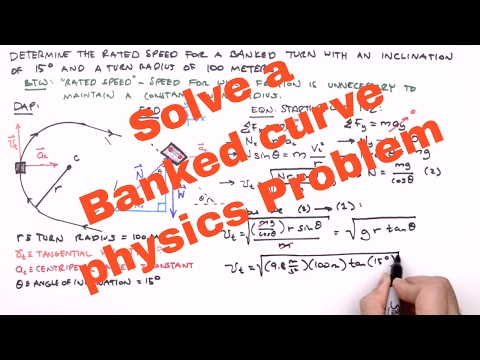 Solve a Banked curve physics Problem - YouTube