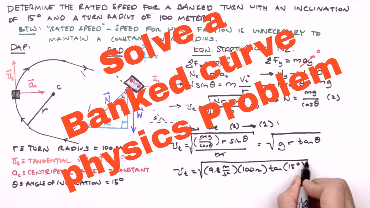 Solve a Banked curve physics Problem