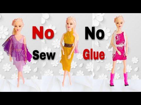 How To Make Doll Dresses No Sew No Glue | Making Doll Dresses Easy