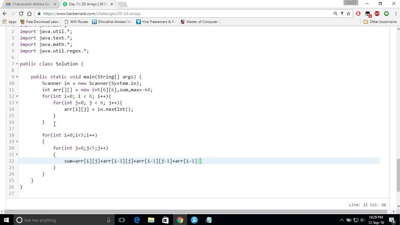 Day 11 of code: 2D Arrays! hackerrank | java | tutorial