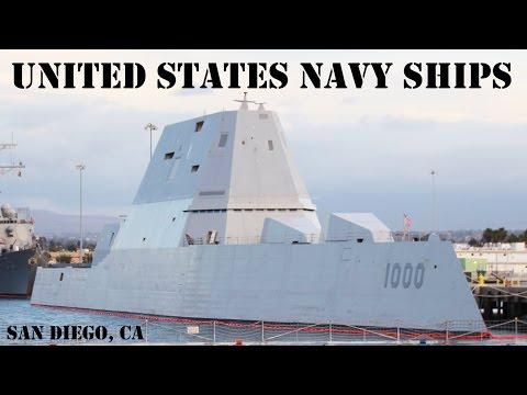 US Navy Ships at San Diego Naval Base (Zumwalt, Littoral Combat Ship, Nimitz Carrier) - 4K UHD