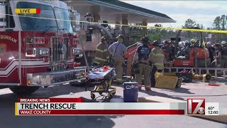 Trench rescue underway in Wake County