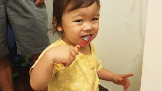 21 Month Old Baby Enjoys Brush…