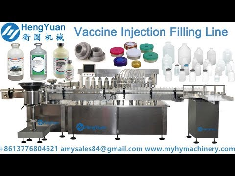 Automatic vaccine injection liquid filling rubber stopper and aluminium lid capping machine line