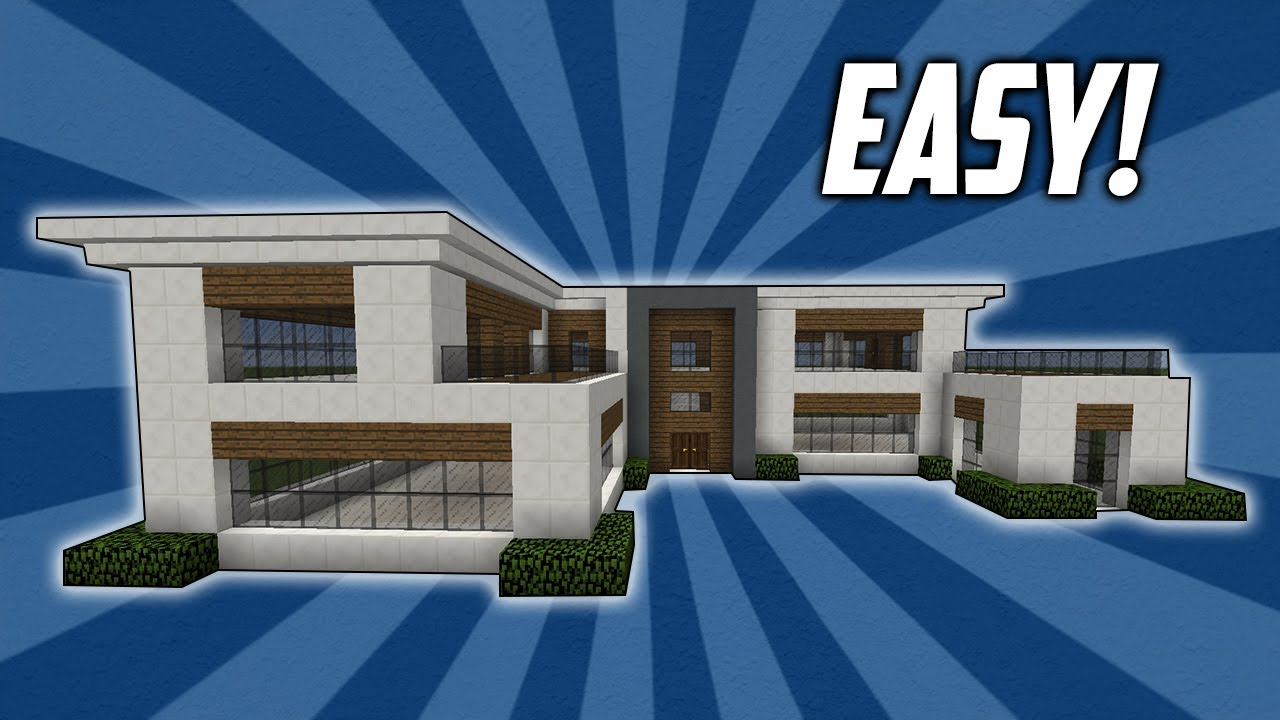 Minecraft How To Build An Easy Modern House Tutorial Youtube