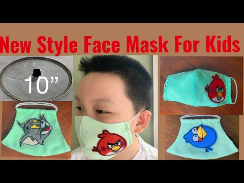 ( # 55 ) How To Make Easy-Cute Face Mask For Kids- DIY Face Mask With Filter Pocket Easy Tutorial