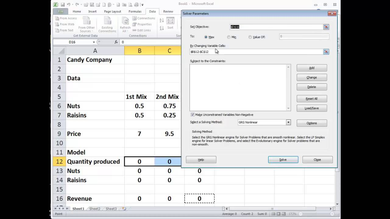 using execel solver Quickly learn how to set up and solve your own problems using the excel solver with our examples you'll be able to solve many business problems including those related to: scheduling, inventory, budget allocation, supply chain and more.