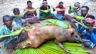How Clean a PIG &amp Cooking by Santali Tribe on their Traditional System &amp Eating with Rice Wine
