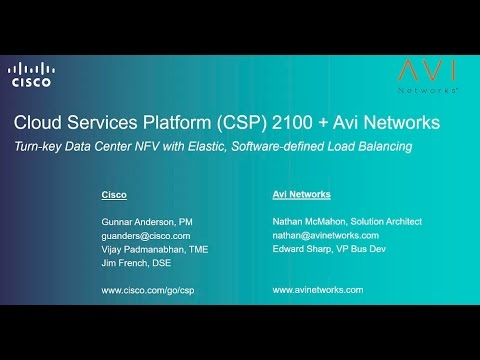 Agile, Next Gen Load Balancing with Cisco CSP 2100 and Avi Networks