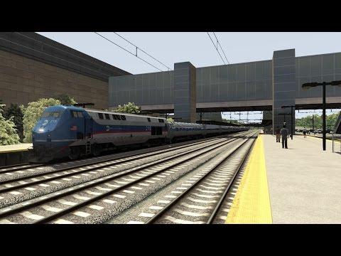 TS2015 HD: GE P32AC-DM w/ MPI HSP46 Physics Hauls 10 Car AMTK Northeast Regional Train 171 NYP - PHI